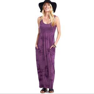 Purple Tie Dye Maxi Hippie Boho Dress with Pockets